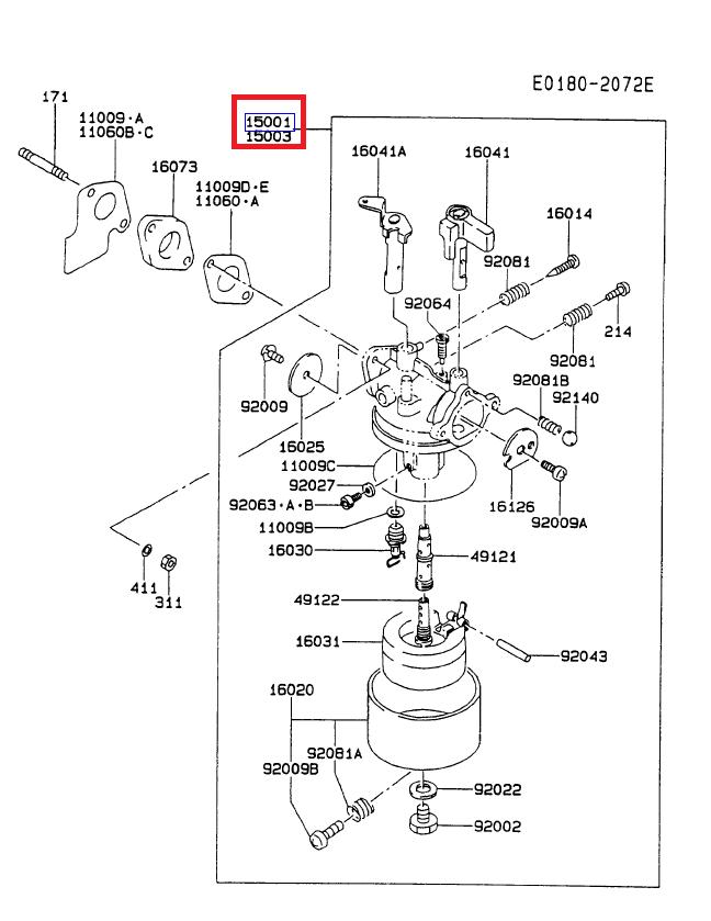 Kawasaki 15001-2451 OEM Carburetor