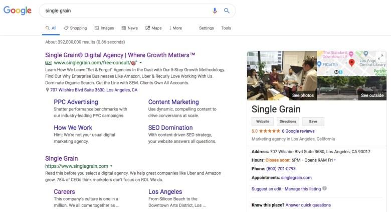 Single Grain su Google