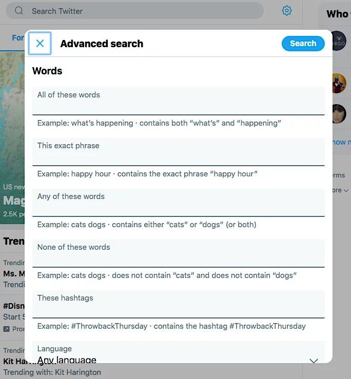 Ricerca avanzata su Twitter
