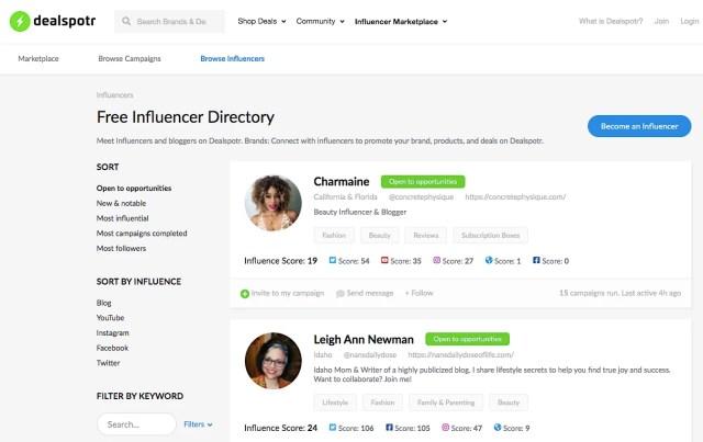 Dealspotr influencers