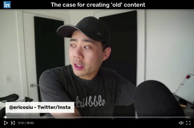 Eric live video Instagram Twitter LinkedIn