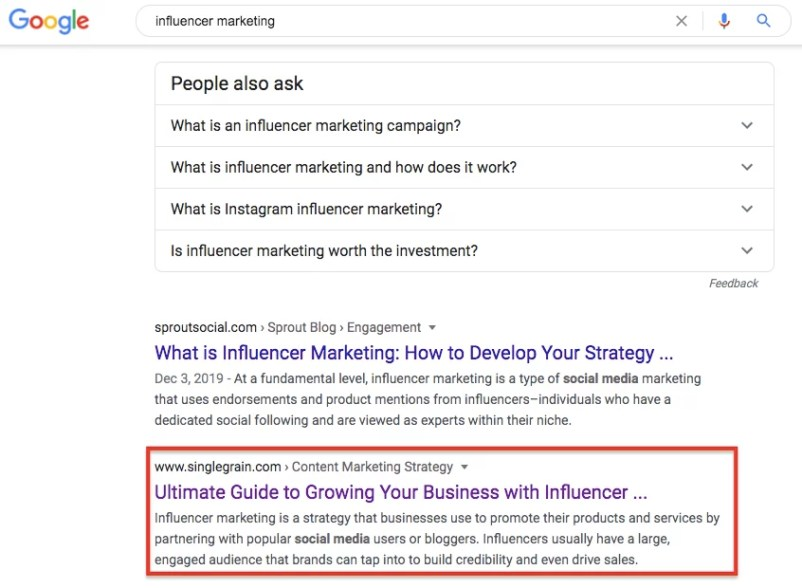 Influencer marketing page one