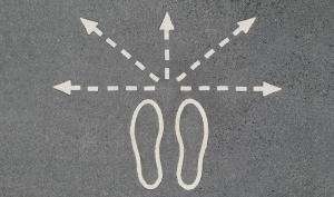 God gave free will in choice - footprints with arrows in different directions.
