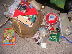 A bagful of Christmas decorations