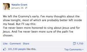 Natalie Grant Grammy Facebook Post