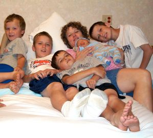 My Boys and Me Rigt After Kaleb was Born