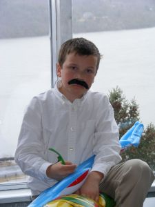 Noah with Fake Mustache