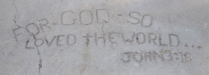 John 3:16 inscribed in sidewalk at Lubbock University - Texas