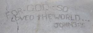 John 3:16 inscribed in sidewalk at Lubbock University - Texas
