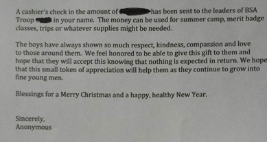 Letter from anonymous donor