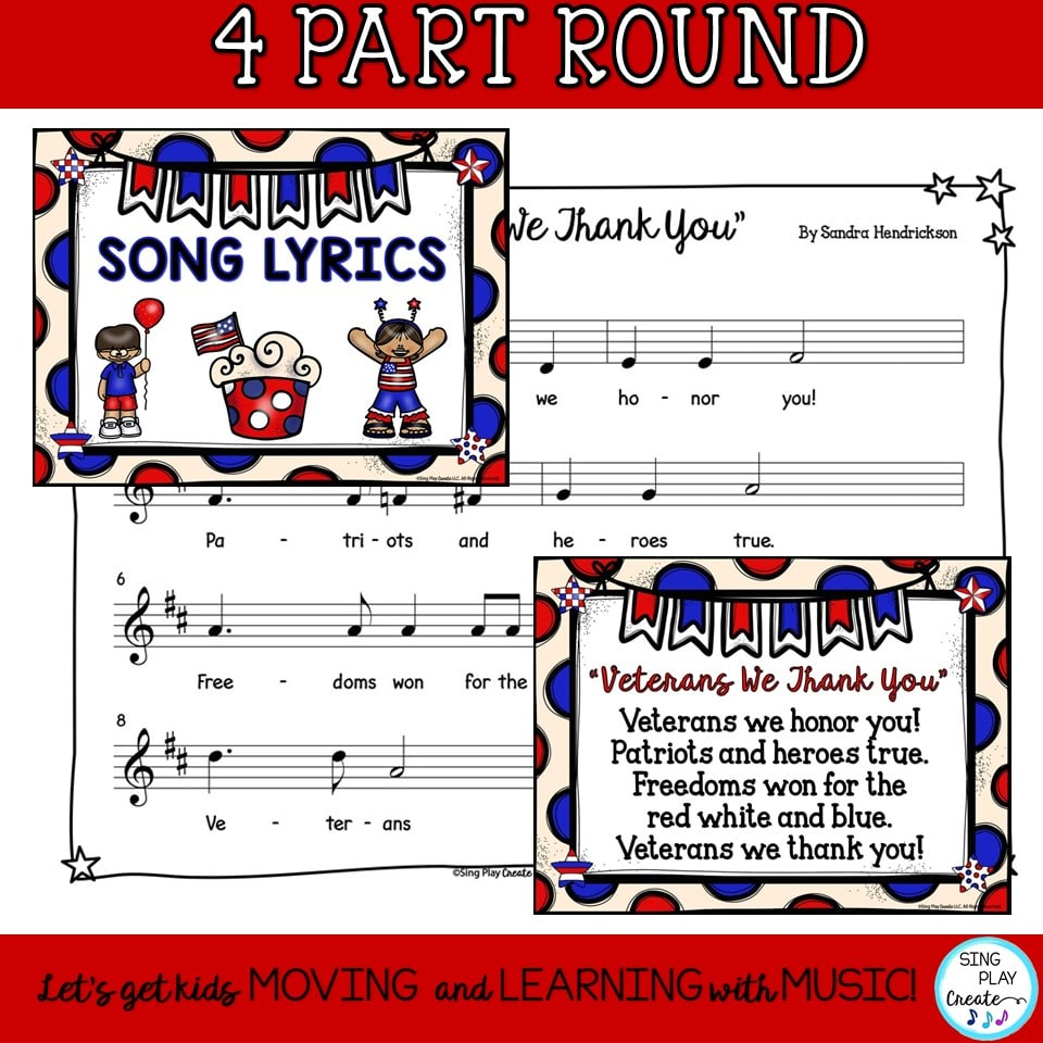 "hight resolution of Patriotic Veterans Day Round and Music Lesson ""Veterans We Thank You"""