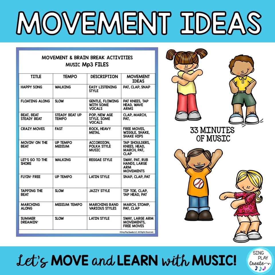 hight resolution of Music Tracks for Movement Activities