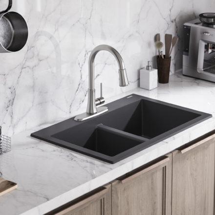 gray kitchen sink marble countertops granite composite sinks sinkology sk601 33bl whitney modern farmhouse