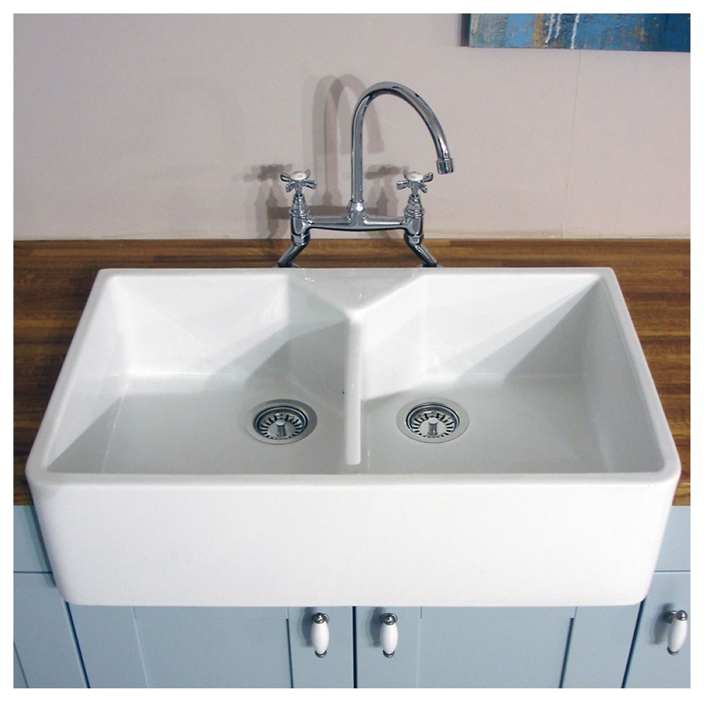 ceramic kitchen sink outdoor cabinet doors bluci vecchio g10 double bowl sinks taps com 2 0
