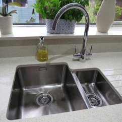 Cheap Kitchen Sink And Tap Sets 2 Seater Table Inspiration Sinks Taps Com A Bluci Orbit 01 U Undermounted 1 5 Bowl Twin Lever Rienza Set Into Quartz Worktop With Drainer Grooves