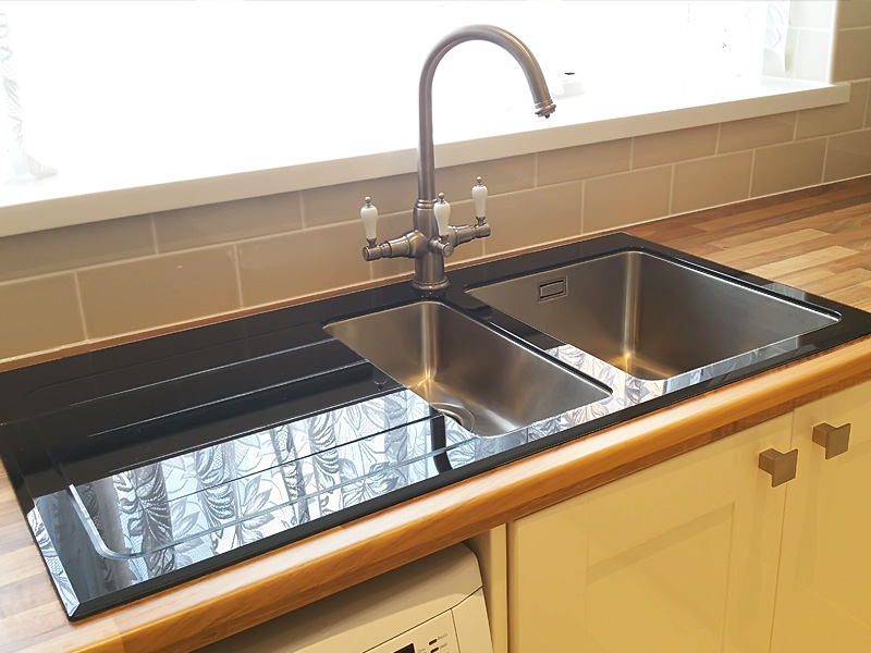 cheap kitchen sink and tap sets how much for cabinets inspiration sinks taps com glass with stainless bowls thanks to our customer who provided this image set into a wooden worksurface three way water filter