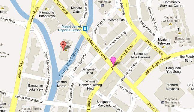Mapa ubicacion mezquita del viernes, KL