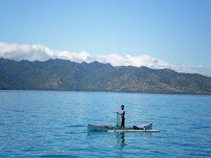 Pescador en las islas Gili