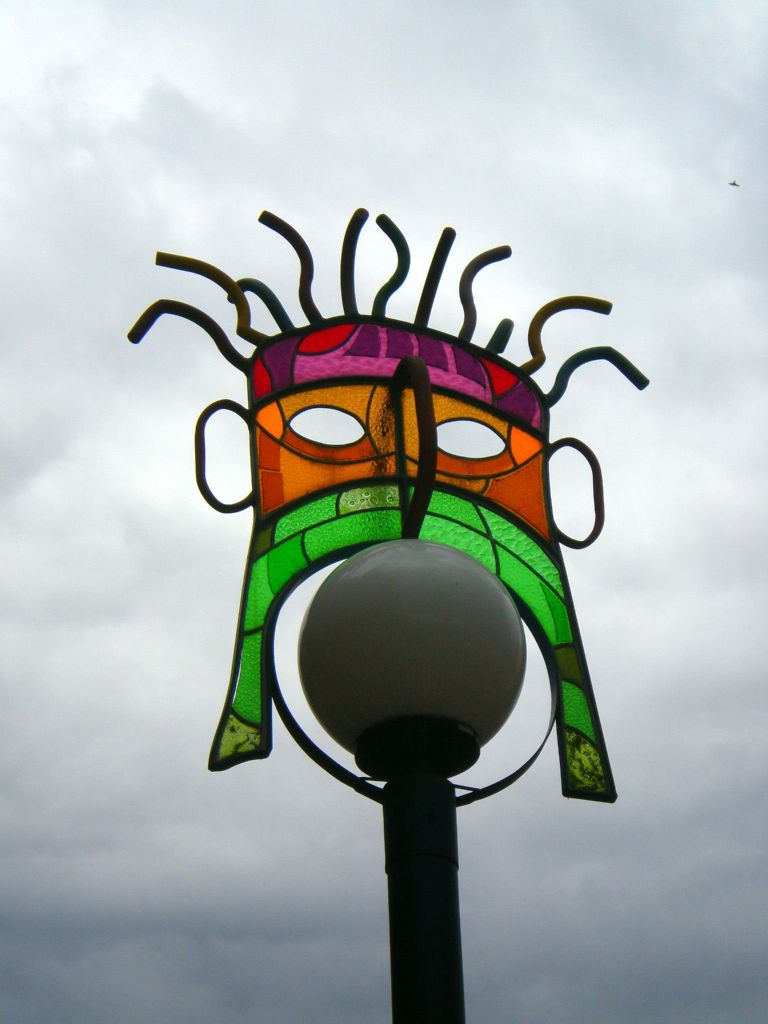 decoraciones de lamparas de las calles de Otavalo