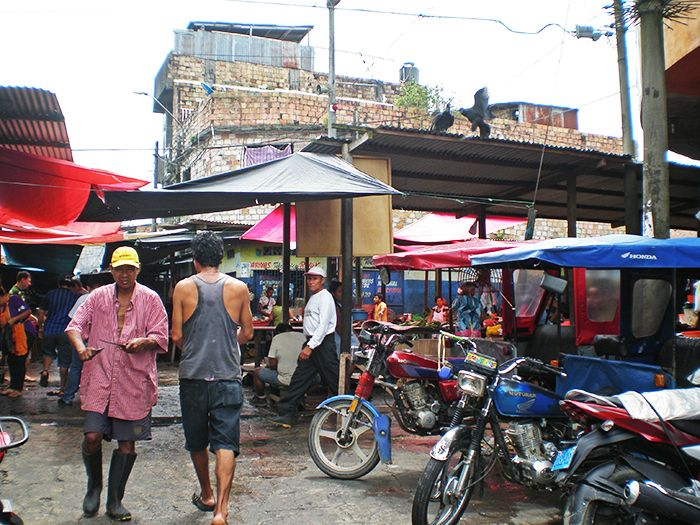 Calles del barrio de Belén en Iquitos