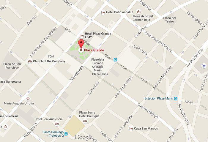 Mapa de la Plaza Grande en Quito