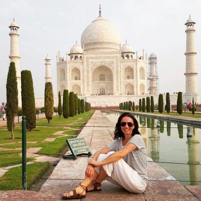 La instantánea obligada en el Taj Mahal India