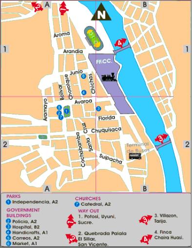 Mapa turístico del centro de Tupiza