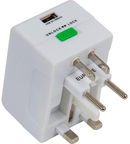 Adaptador universal con USB para viajeros
