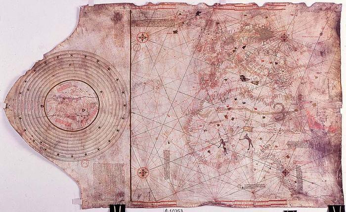 Mapa atribuido a Cristobal Colón. Tratado de Tordesillas