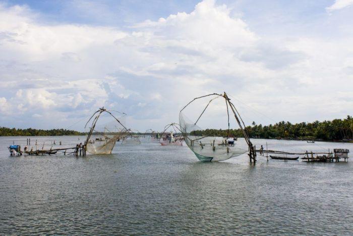 kerala backwaters redes chinas pesca
