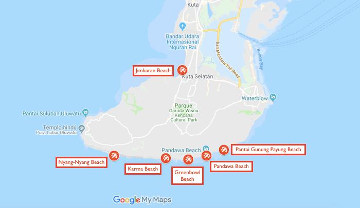 mapa con las playas del sur de bali