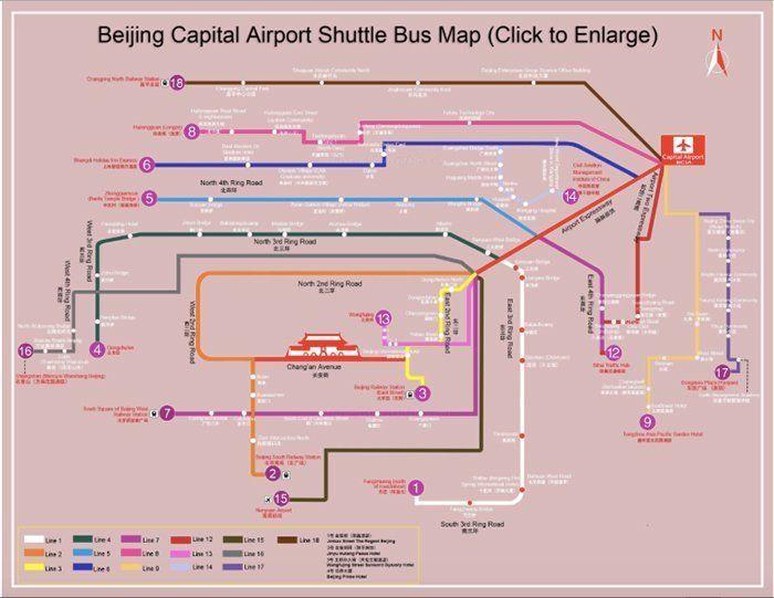 mapa de las rutas de buses de pekin