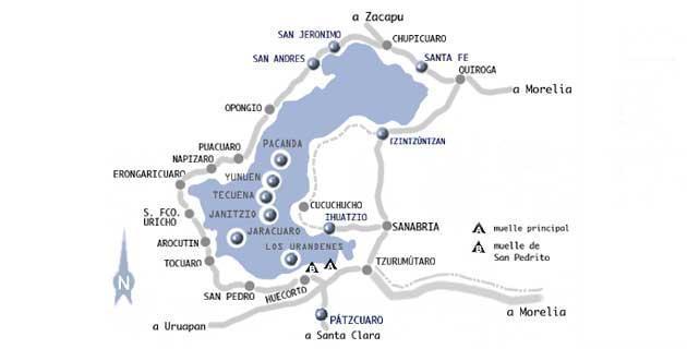 Mapa del circuito del lago en Pátzcuaro, Michoacán, México