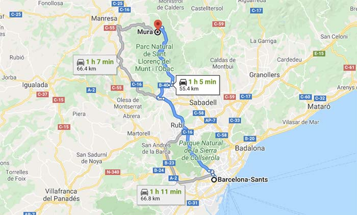 mapa para llegar a Mura