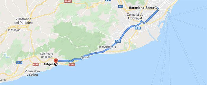 mapa para llegar a Sitges