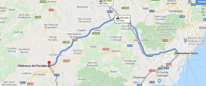 mapa para llegar a Vilafranca del Pendes