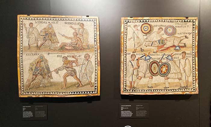 Mosaicos romanos en el Museo Arqueológico en Madrid
