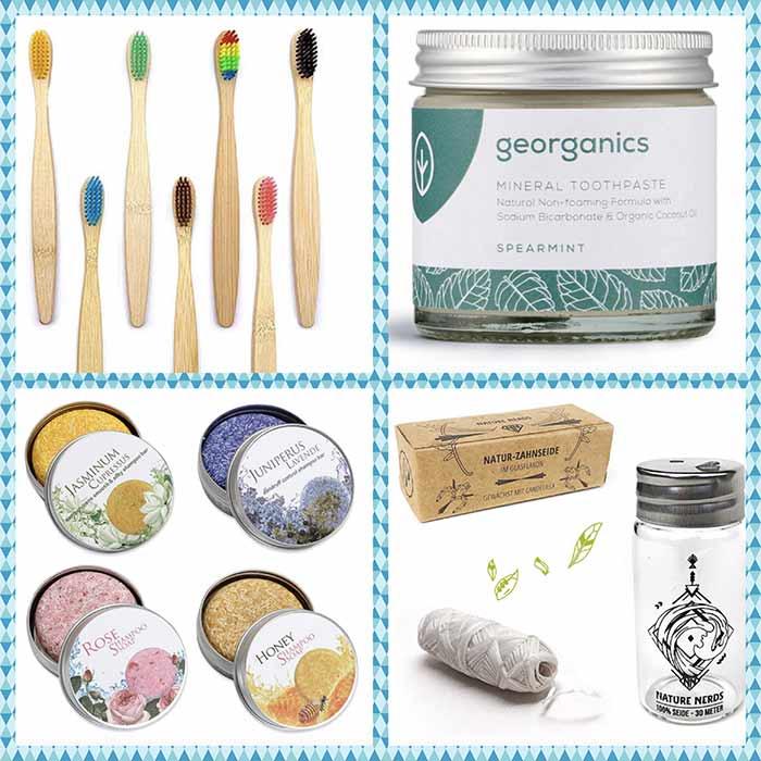 Regalos para viajeros, collage de productos para el neceser del baño