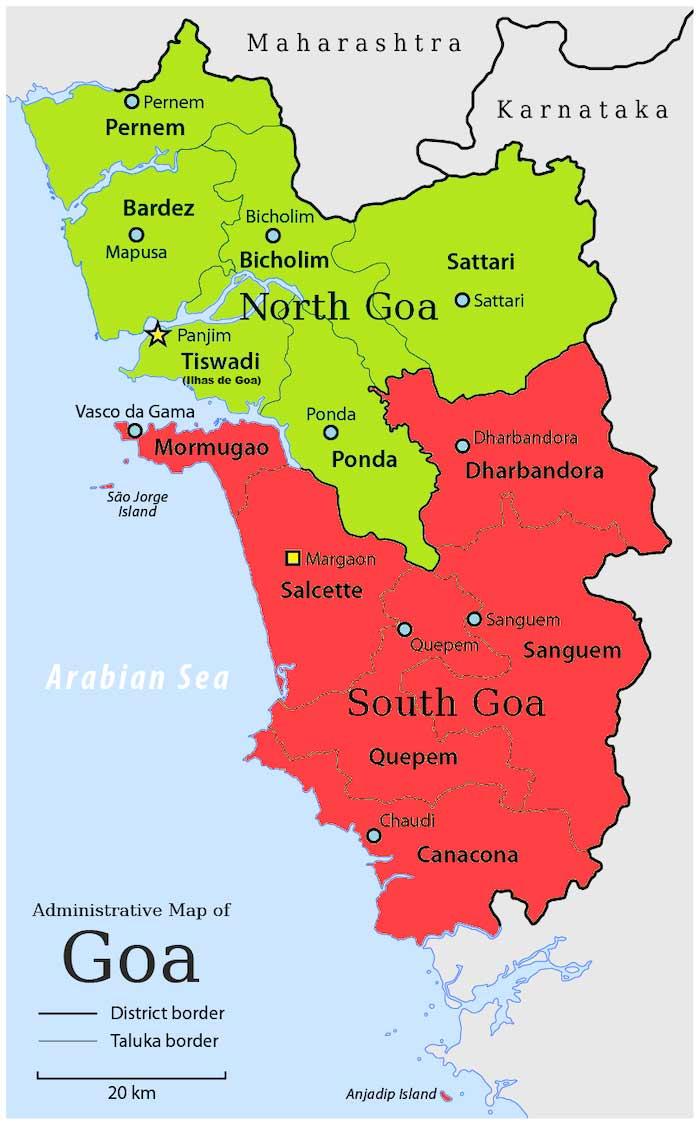 Mapa de los dos distritos de Goa, India