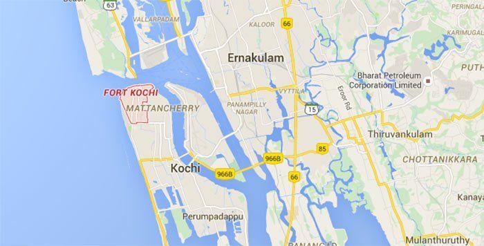 Mapa de Ernakulam, Cochín, Fort Kochi