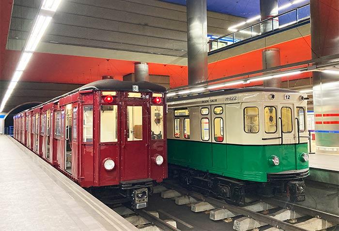 Exposición de trenes históricos del metro en la estación de Chamartín. Rincones secretos de Madrid.