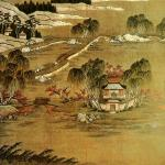 Qing-Dynasty Gu-embroidered picture album West Lake, 24.1cm high, 26.3cm wide. The picture shows the scene of- Orioles Singing in the Willows