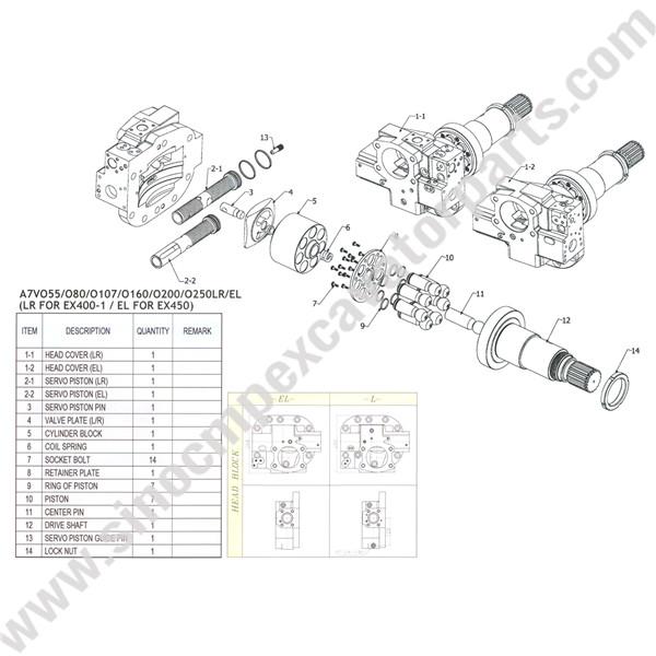 Hitachi A7VO55 Hydraulic Pump Parts Fit EX400-1 EX450