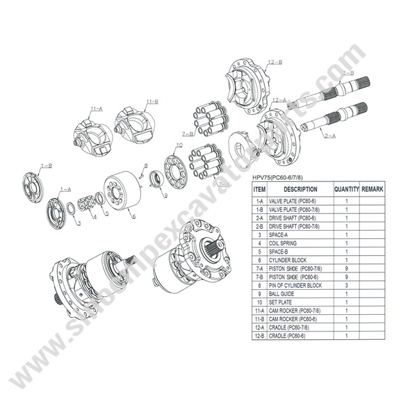 HPV75 Spare Parts Fit Komtsu PC60-7 PC60-8 Hydraulic Pump