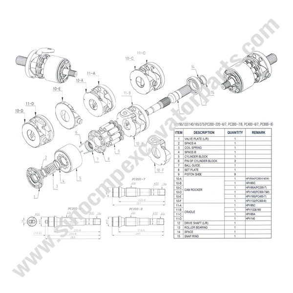 HPV140 hydraulic Pump Parts Fit Komastu Excavator PC300-7