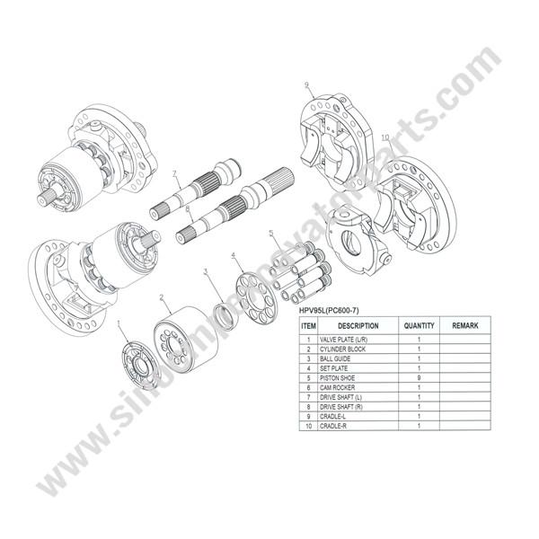 Komatsu HPV95L Hydraulic Pump ASSY Fit Excavator PC600-7