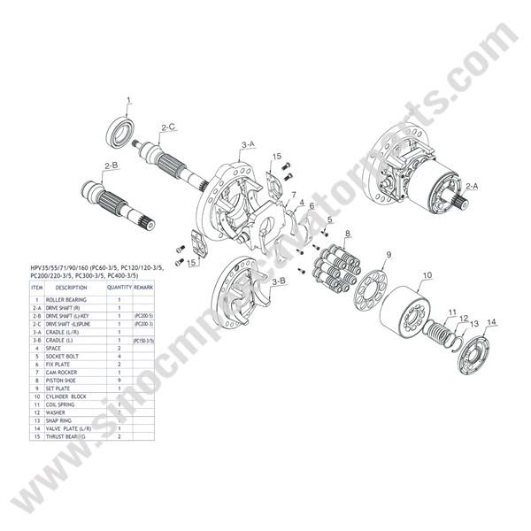 HPV71 Spare Parts HANDOK Fit Komastu PC200 PC220-3 Excavator