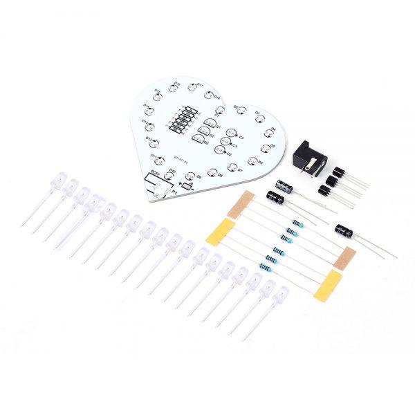 Colorful LED Lamp Heart Shape Electronic DIY Kit Remote