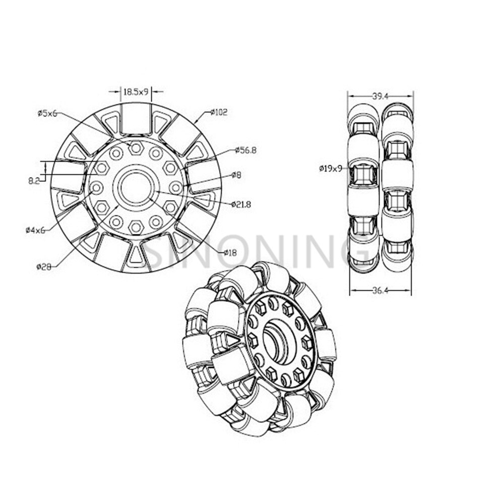 100mm Omni-directional wheel 4 inch for Robot Competition
