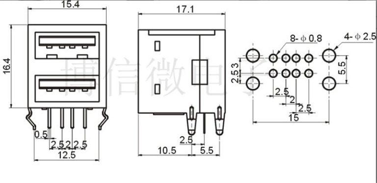 2pcs/lot USB A Type Female Socket Connector 2to1 Set G43